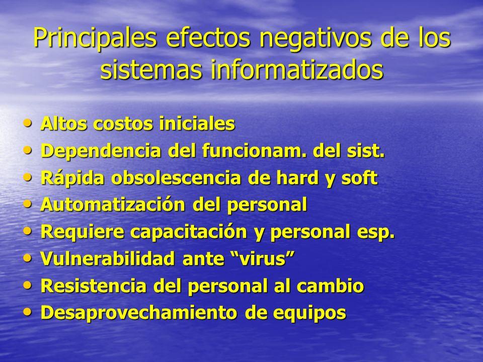 Principales efectos negativos de los sistemas informatizados