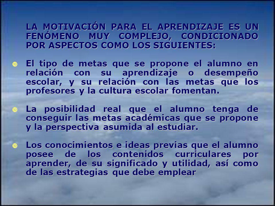 LA MOTIVACIÓN PARA EL APRENDIZAJE ES UN FENÓMENO MUY COMPLEJO, CONDICIONADO POR ASPECTOS COMO LOS SIGUIENTES: