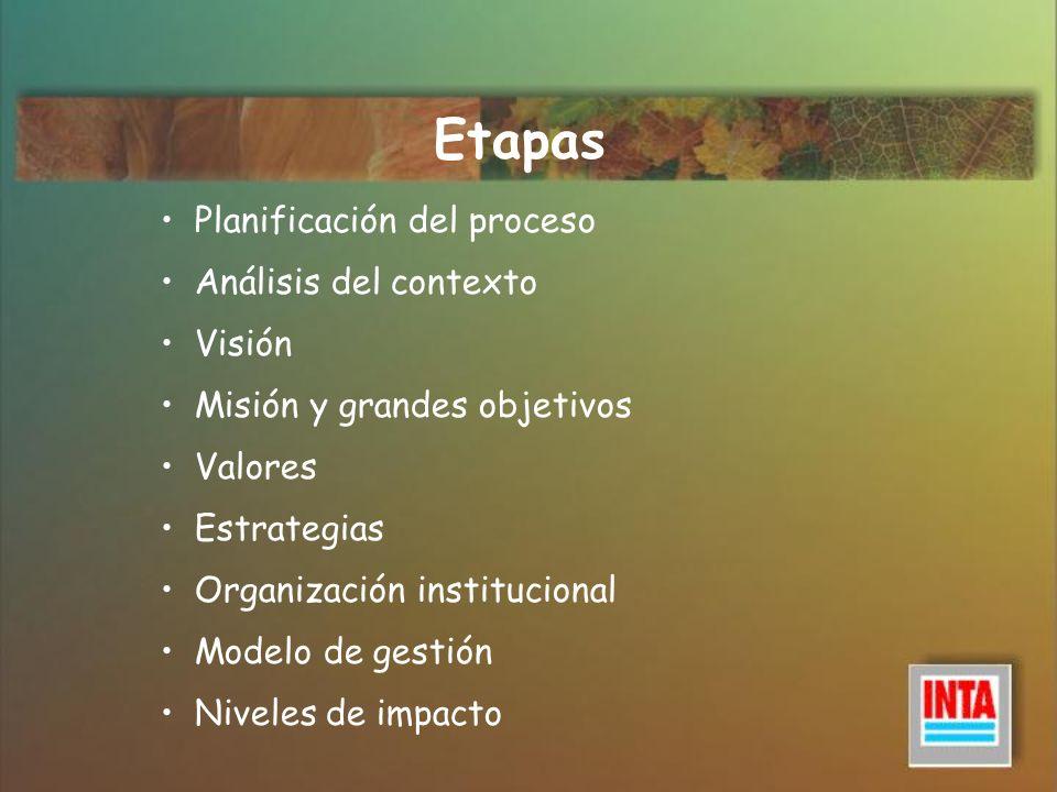Etapas Planificación del proceso Análisis del contexto Visión