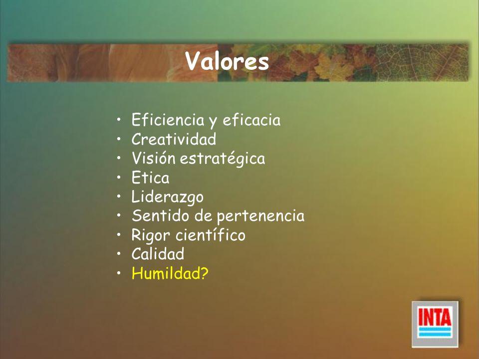 Valores Eficiencia y eficacia Creatividad Visión estratégica Etica