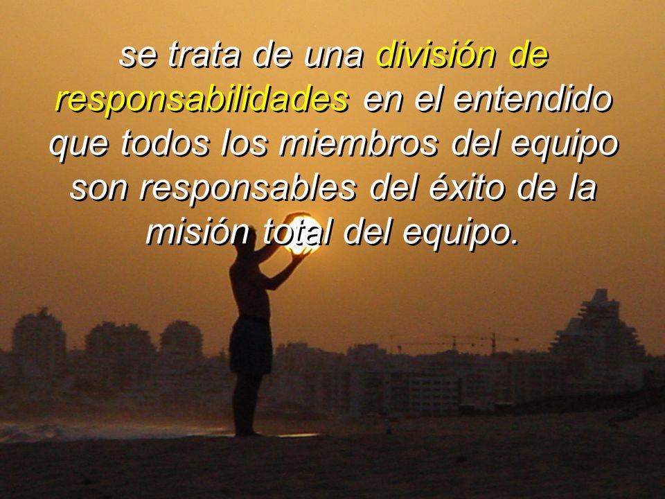 se trata de una división de responsabilidades en el entendido que todos los miembros del equipo son responsables del éxito de la misión total del equipo.