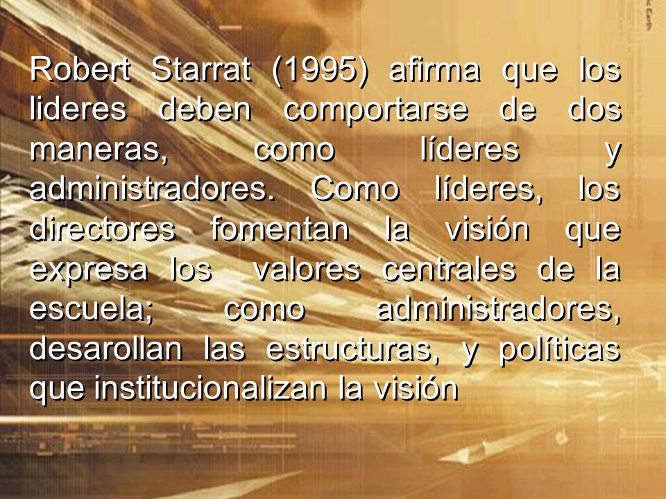 Robert Starrat (1995) afirma que los lideres deben comportarse de dos maneras, como líderes y administradores.
