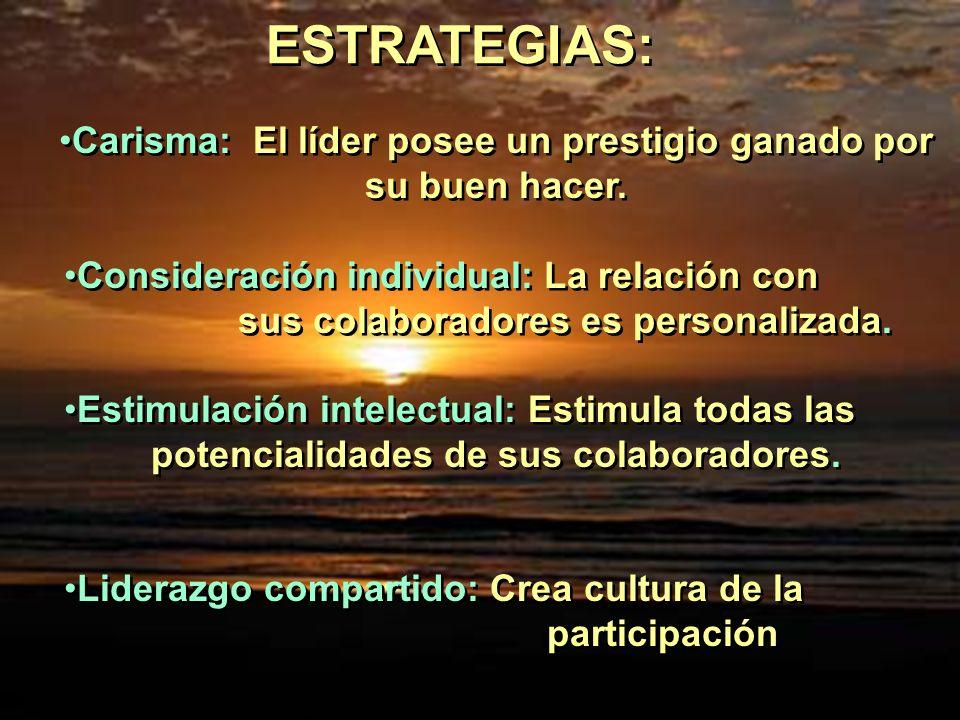 ESTRATEGIAS: Carisma: El líder posee un prestigio ganado por su buen hacer.
