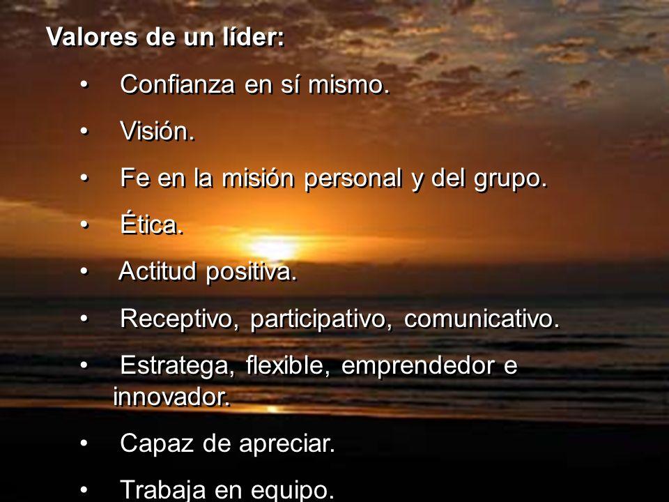 Valores de un líder: Confianza en sí mismo. Visión. Fe en la misión personal y del grupo. Ética.