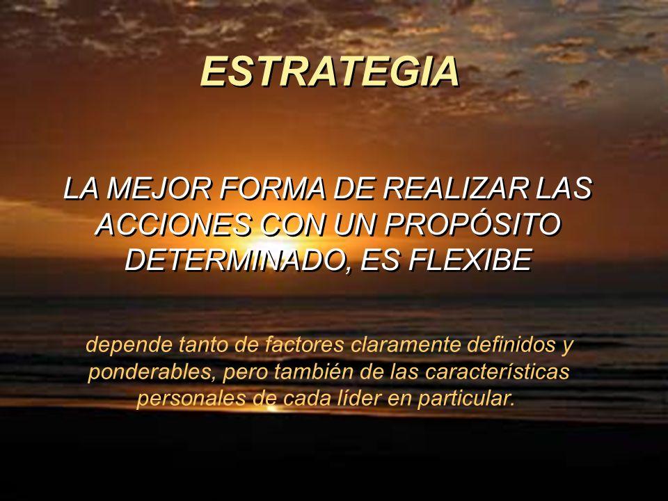 ESTRATEGIA LA MEJOR FORMA DE REALIZAR LAS ACCIONES CON UN PROPÓSITO DETERMINADO, ES FLEXIBE.