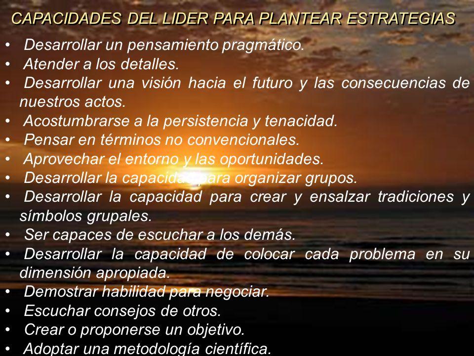 CAPACIDADES DEL LIDER PARA PLANTEAR ESTRATEGIAS