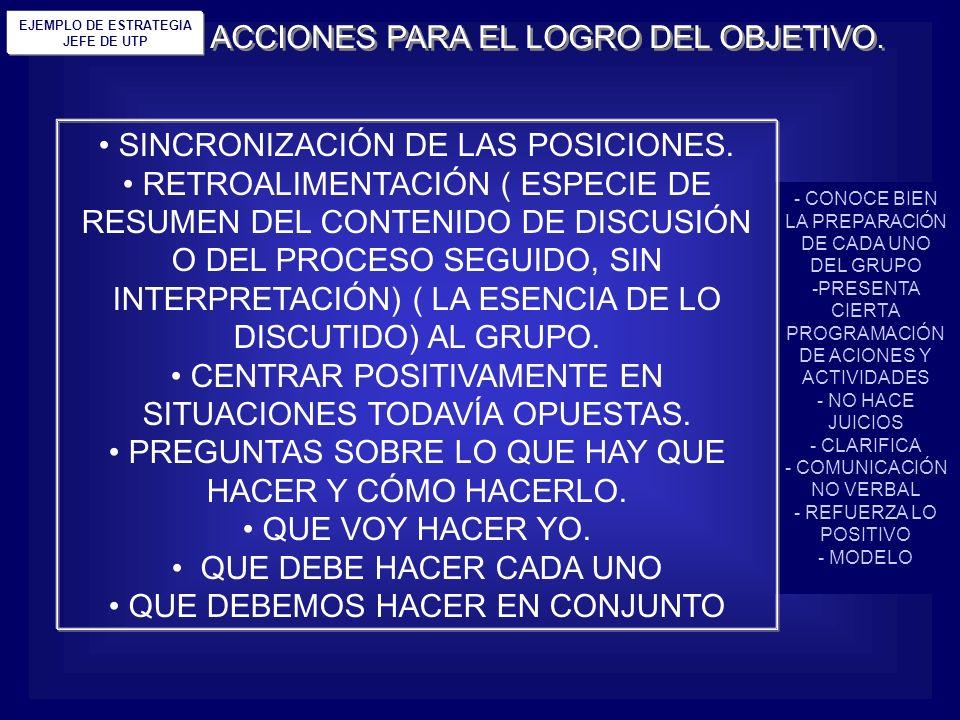 ACCIONES PARA EL LOGRO DEL OBJETIVO.