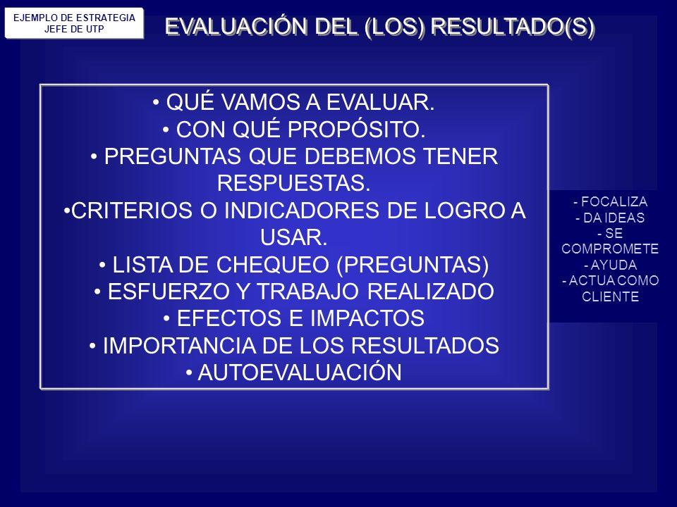 EVALUACIÓN DEL (LOS) RESULTADO(S)