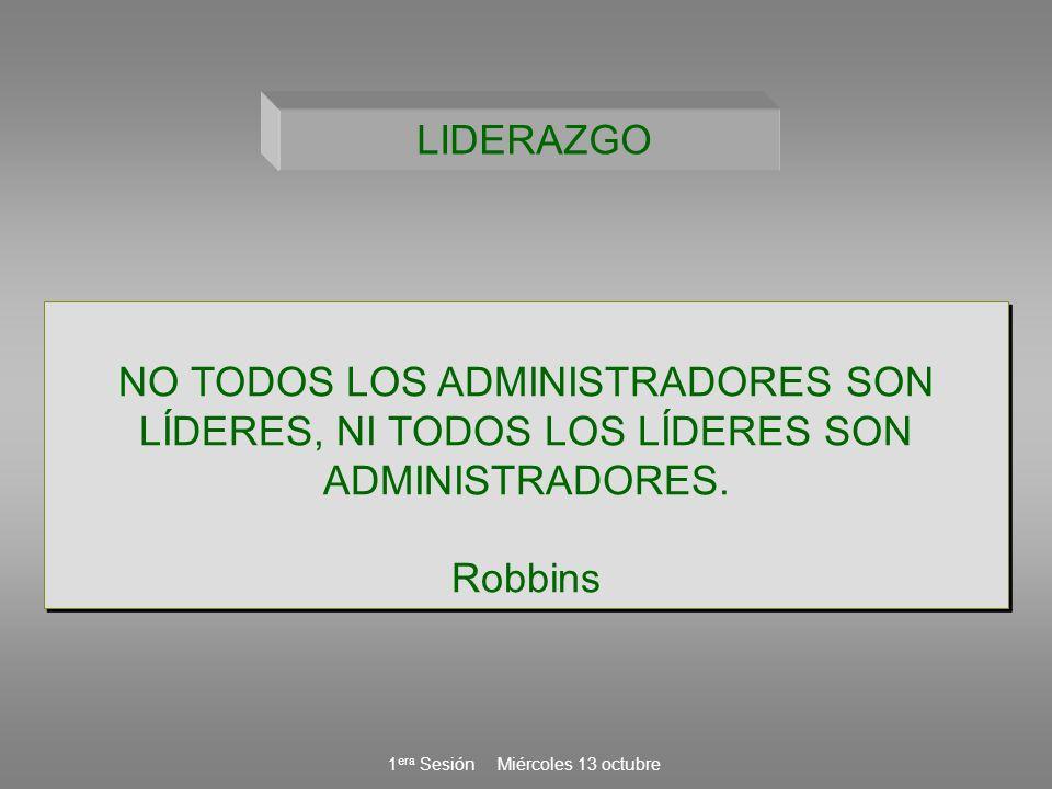 LIDERAZGO NO TODOS LOS ADMINISTRADORES SON LÍDERES, NI TODOS LOS LÍDERES SON ADMINISTRADORES. Robbins.