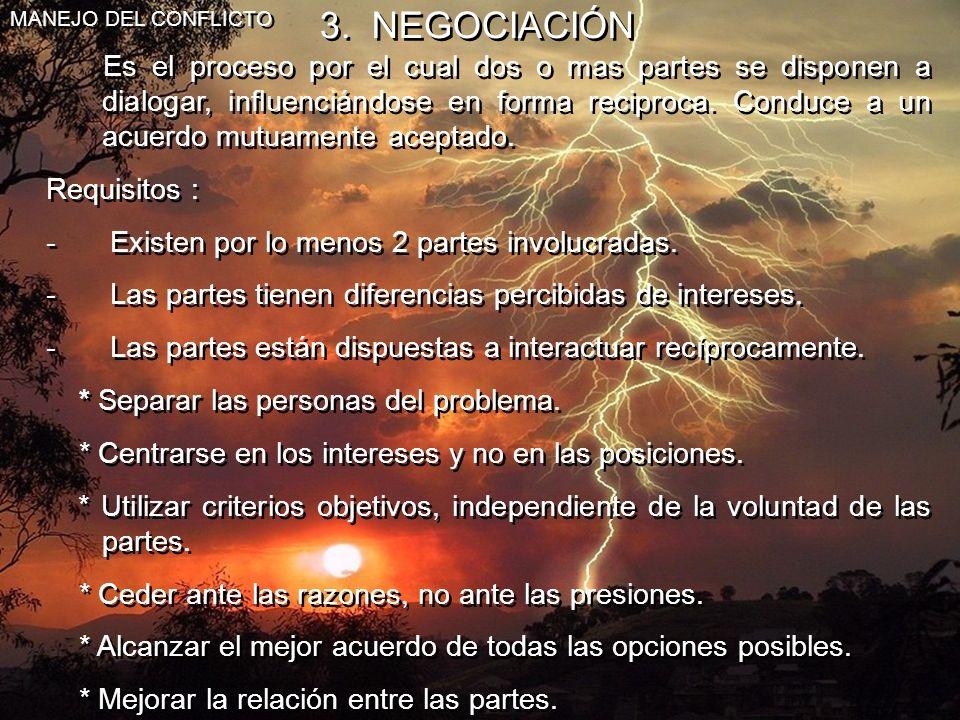 MANEJO DEL CONFLICTO 3. NEGOCIACIÓN.
