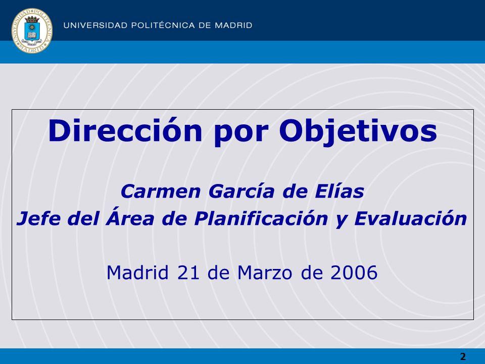 Dirección por Objetivos Jefe del Área de Planificación y Evaluación