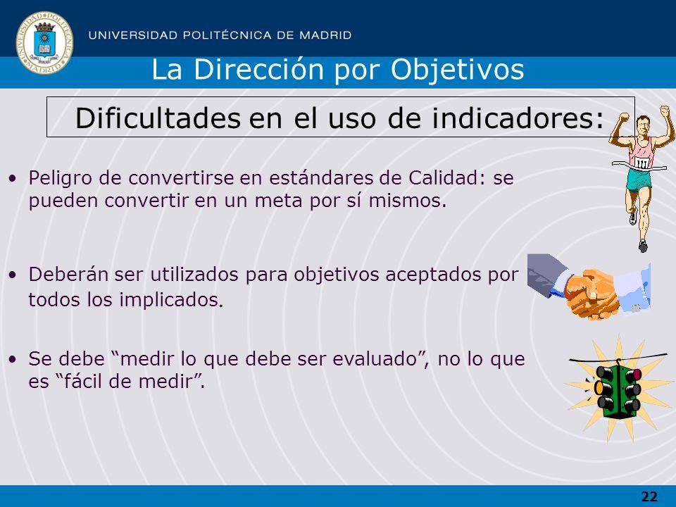 Dificultades en el uso de indicadores:
