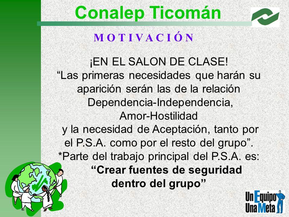 Conalep Ticomán M O T I V A C I Ó N ¡EN EL SALON DE CLASE!