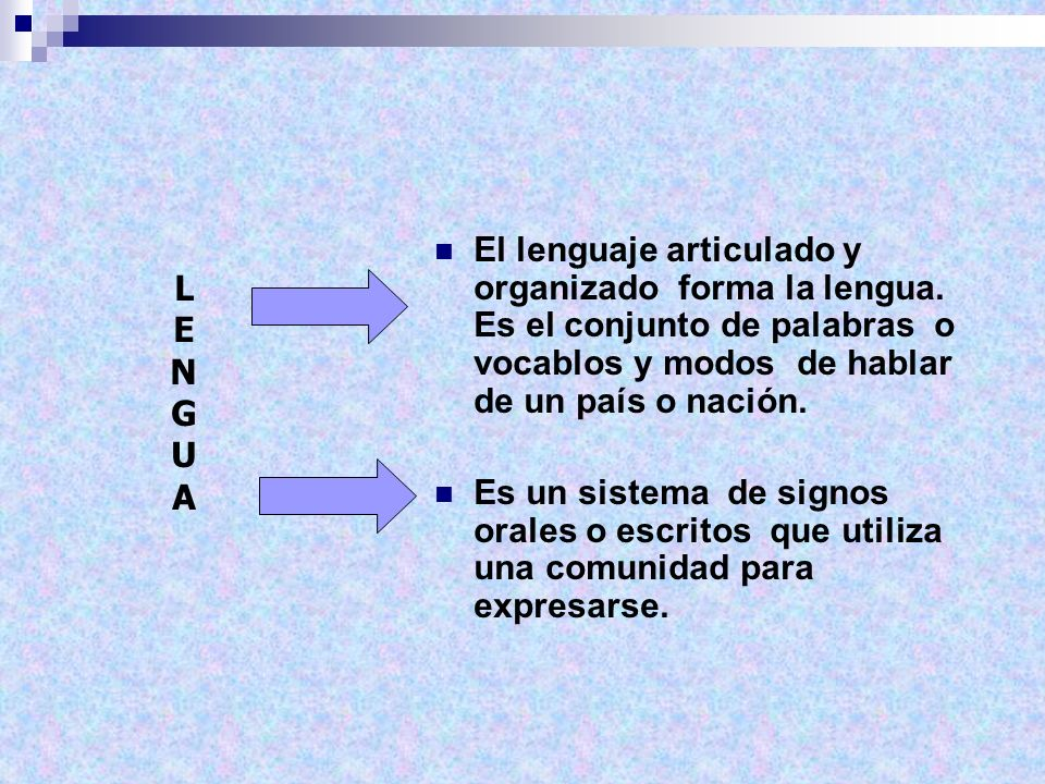 El lenguaje articulado y organizado forma la lengua