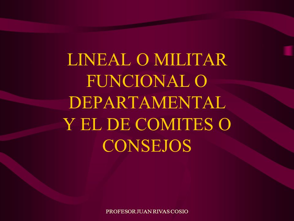 LINEAL O MILITAR FUNCIONAL O DEPARTAMENTAL Y EL DE COMITES O CONSEJOS