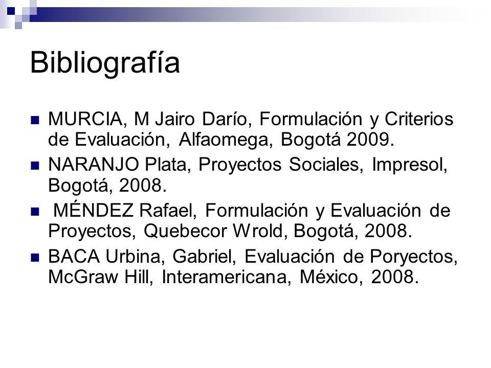 Bibliografía MURCIA, M Jairo Darío, Formulación y Criterios de Evaluación, Alfaomega, Bogotá 2009.