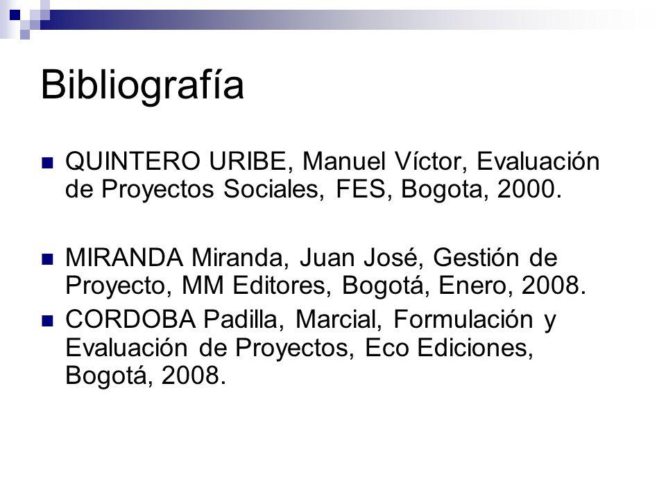 BibliografíaQUINTERO URIBE, Manuel Víctor, Evaluación de Proyectos Sociales, FES, Bogota, 2000.