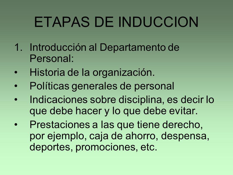 ETAPAS DE INDUCCION Introducción al Departamento de Personal: