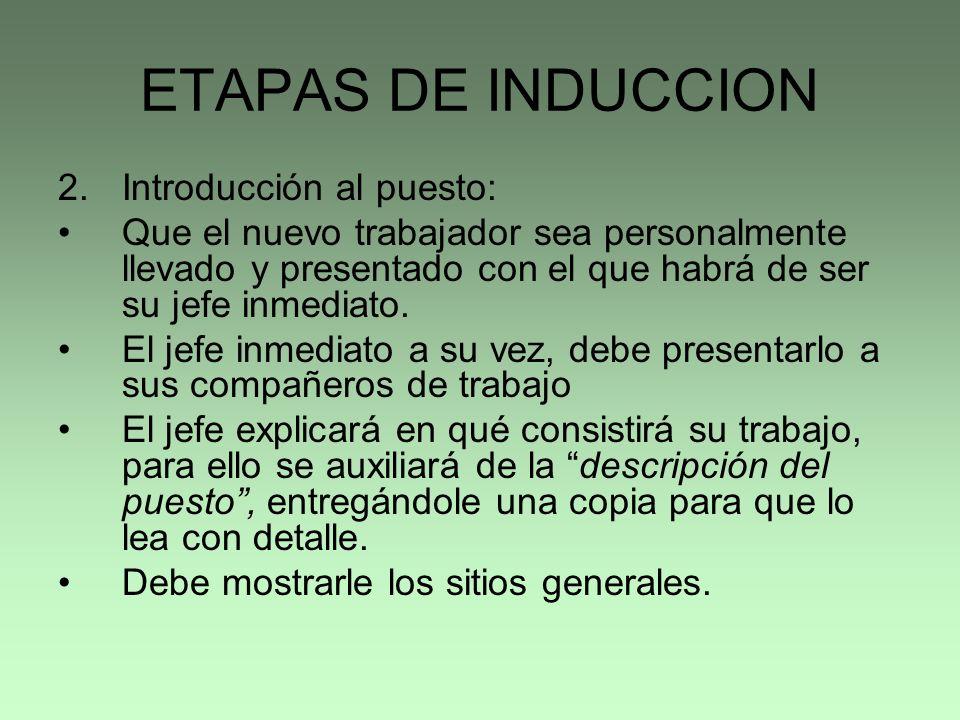 ETAPAS DE INDUCCION Introducción al puesto:
