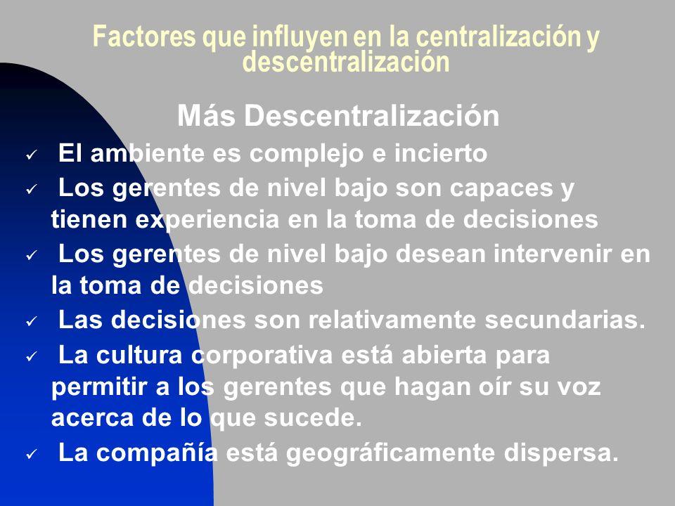Factores que influyen en la centralización y descentralización