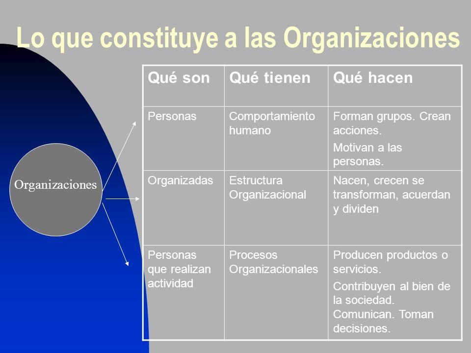 Lo que constituye a las Organizaciones