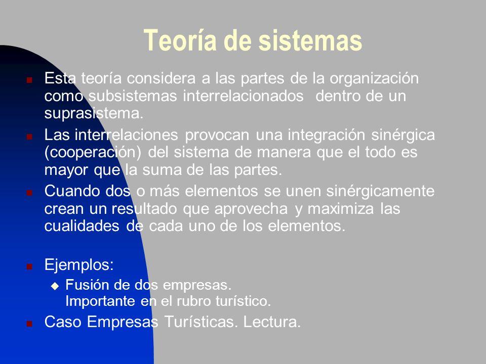 Teoría de sistemas Esta teoría considera a las partes de la organización como subsistemas interrelacionados dentro de un suprasistema.