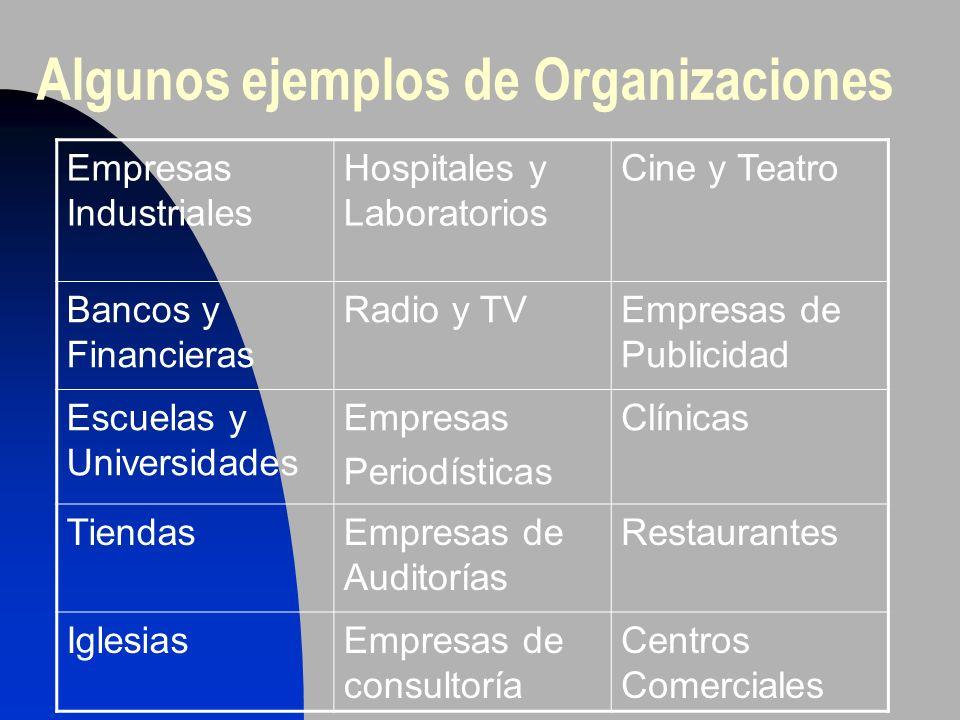 Algunos ejemplos de Organizaciones