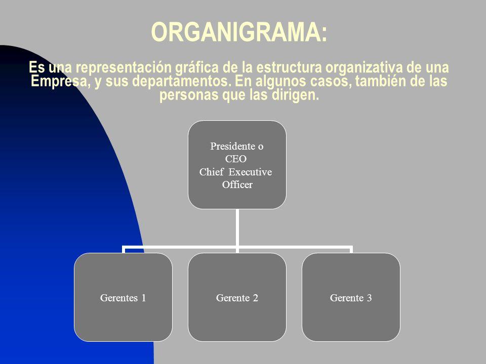ORGANIGRAMA: Es una representación gráfica de la estructura organizativa de una Empresa, y sus departamentos.