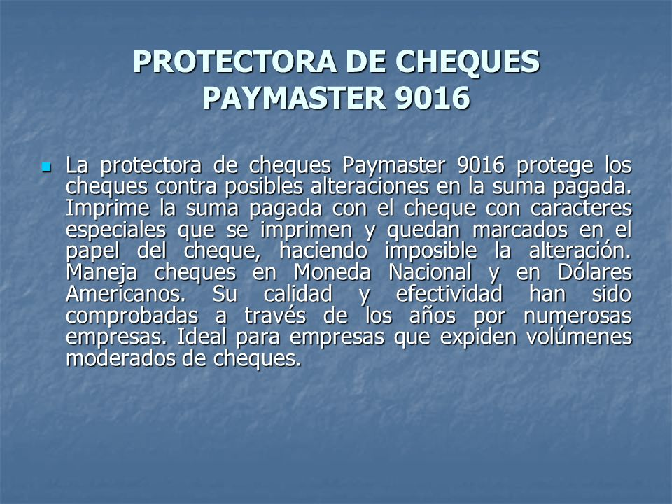 PROTECTORA DE CHEQUES PAYMASTER 9016