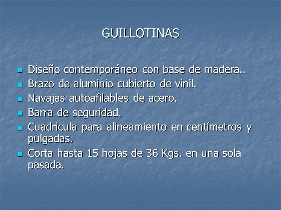 GUILLOTINAS Diseño contemporáneo con base de madera..