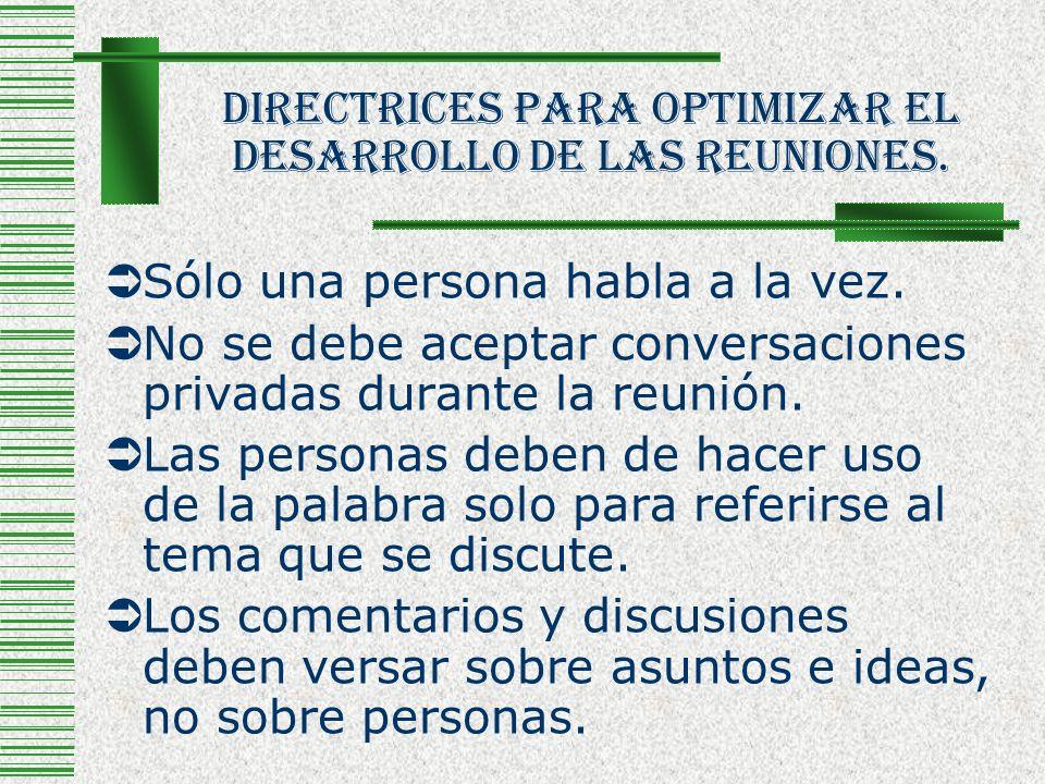 Directrices Para Optimizar El Desarrollo De Las Reuniones.