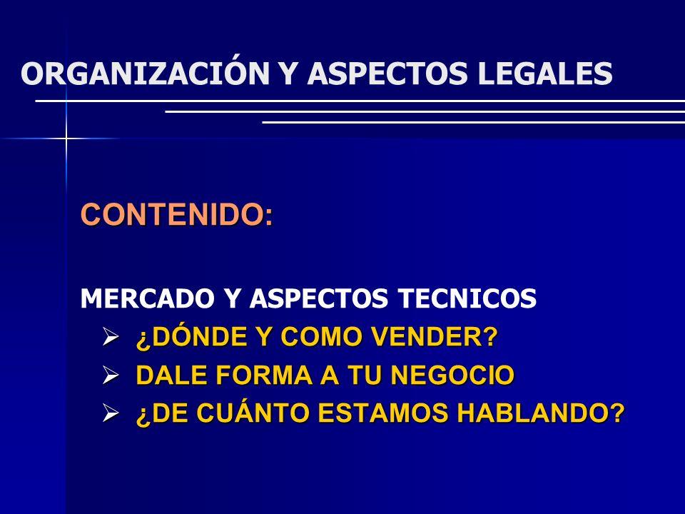 ORGANIZACIÓN Y ASPECTOS LEGALES