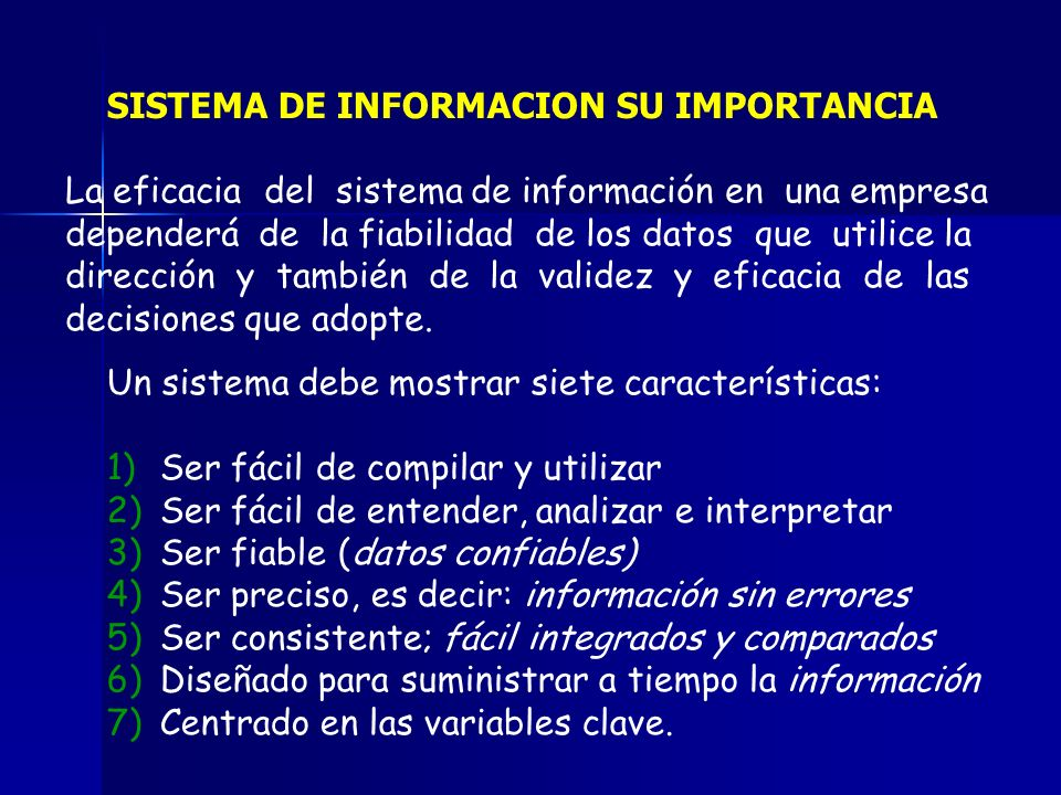 SISTEMA DE INFORMACION SU IMPORTANCIA