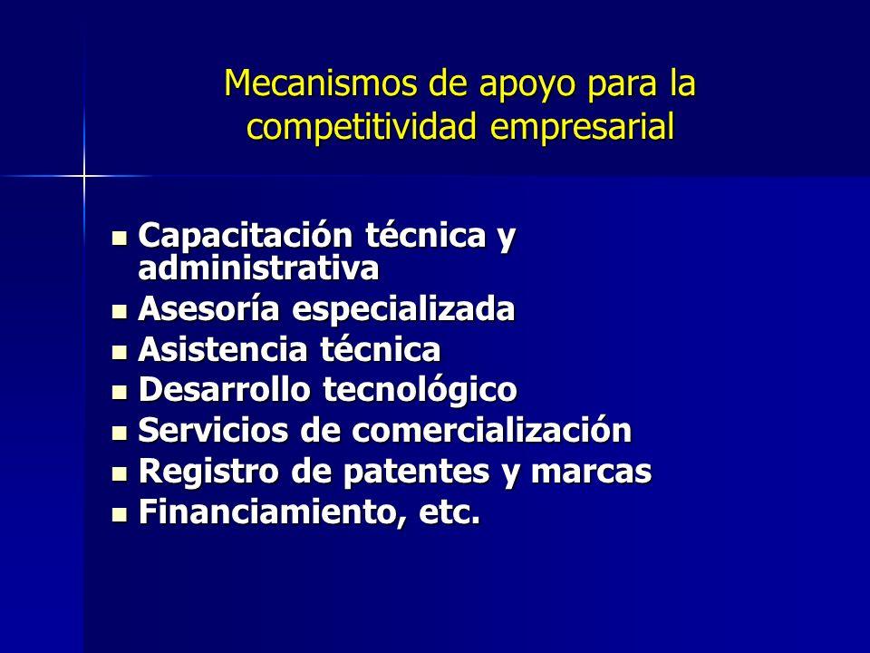 Mecanismos de apoyo para la competitividad empresarial
