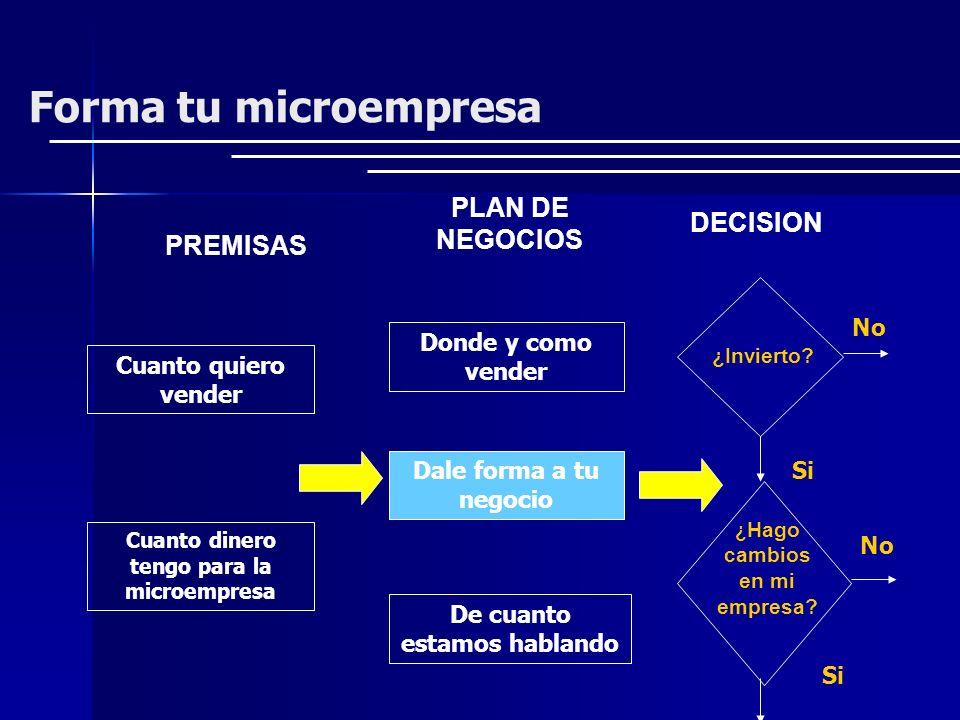Forma tu microempresa PLAN DE NEGOCIOS DECISION PREMISAS No