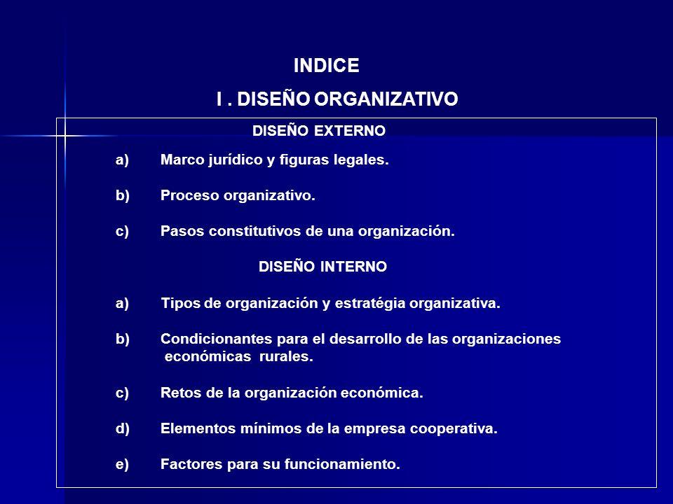 INDICE I . DISEÑO ORGANIZATIVO