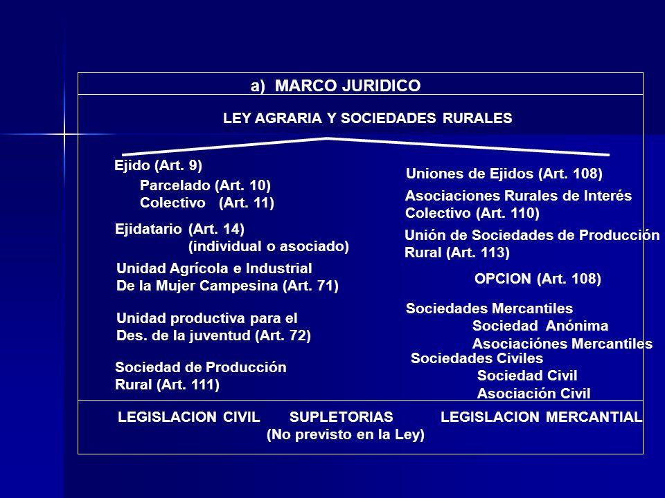 a) MARCO JURIDICO LEY AGRARIA Y SOCIEDADES RURALES Ejido (Art. 9)