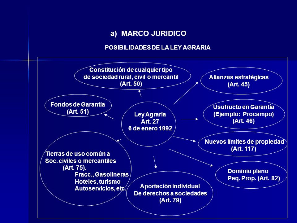 a) MARCO JURIDICO POSIBILIDADES DE LA LEY AGRARIA