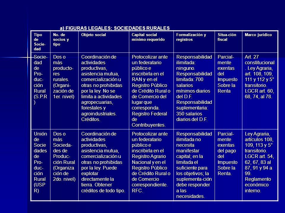 a) FIGURAS LEGALES: SOCIEDADES RURALES