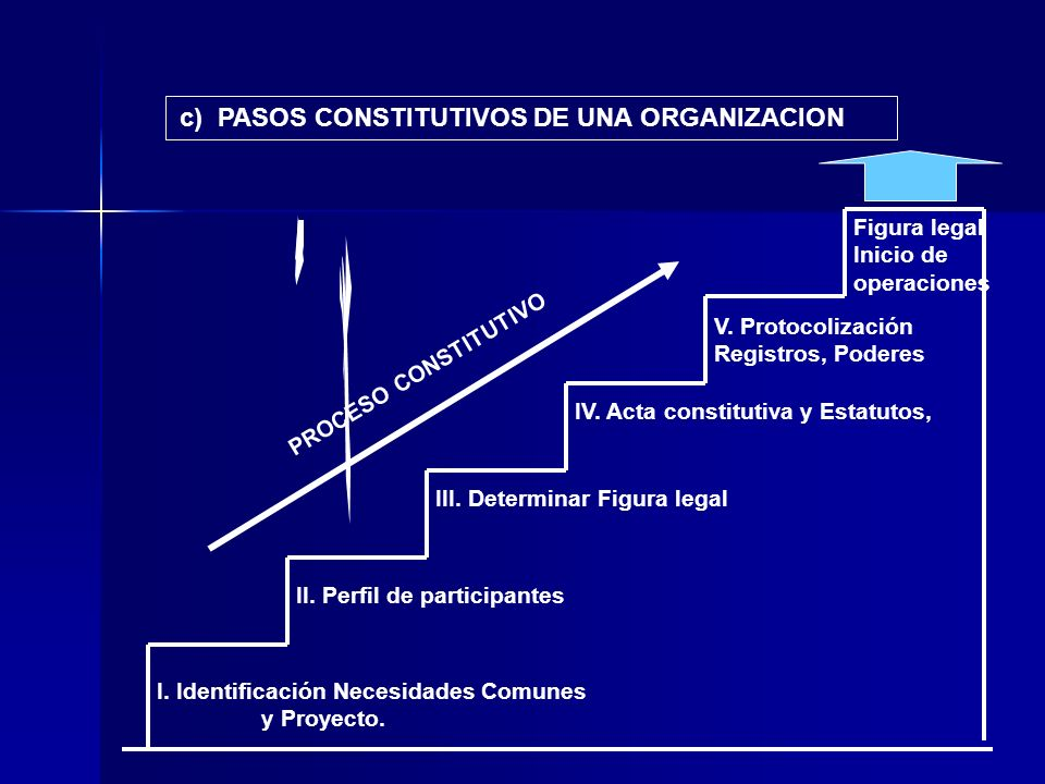 c) PASOS CONSTITUTIVOS DE UNA ORGANIZACION