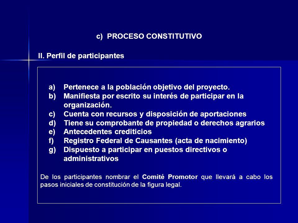 c) PROCESO CONSTITUTIVO II. Perfil de participantes