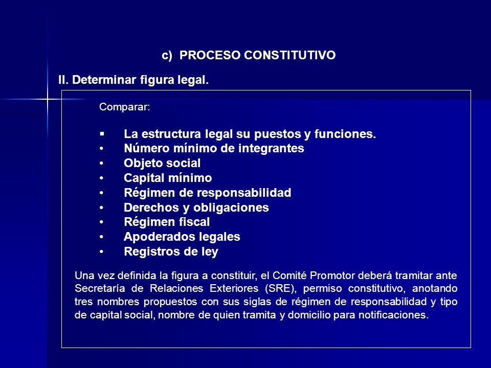 c) PROCESO CONSTITUTIVO II. Determinar figura legal.