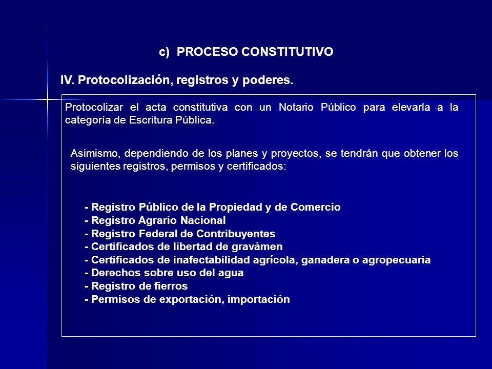 c) PROCESO CONSTITUTIVO IV. Protocolización, registros y poderes.