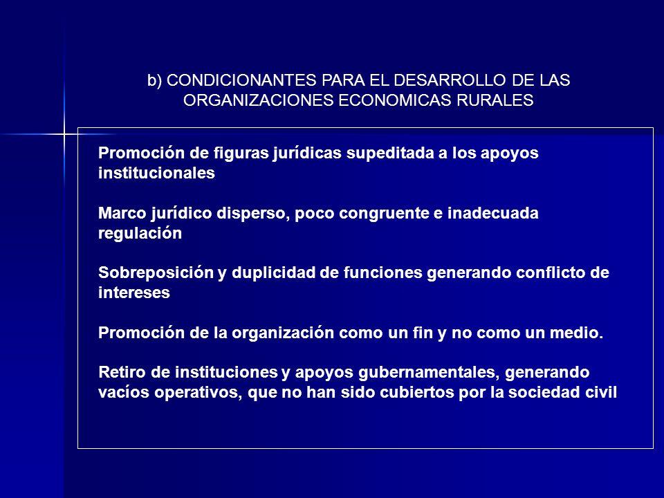 b) CONDICIONANTES PARA EL DESARROLLO DE LAS ORGANIZACIONES ECONOMICAS RURALES