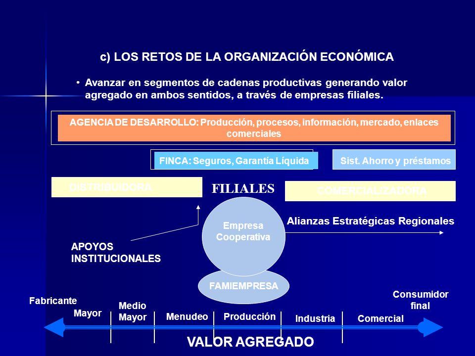 FILIALES VALOR AGREGADO c) LOS RETOS DE LA ORGANIZACIÓN ECONÓMICA