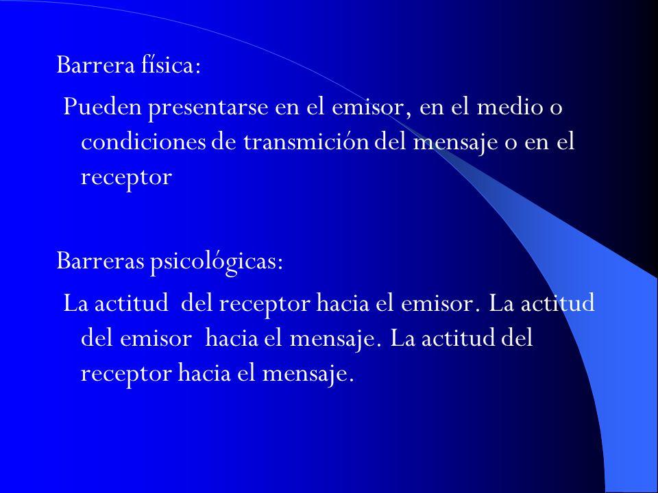Barrera física: Pueden presentarse en el emisor, en el medio o condiciones de transmición del mensaje o en el receptor.