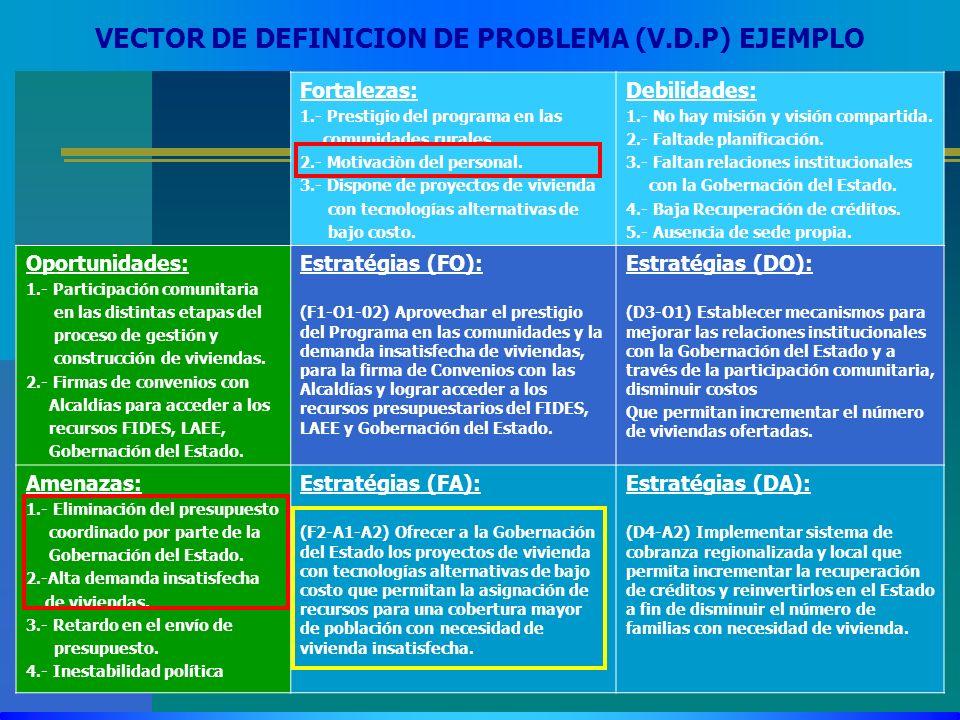 VECTOR DE DEFINICION DE PROBLEMA (V.D.P) EJEMPLO