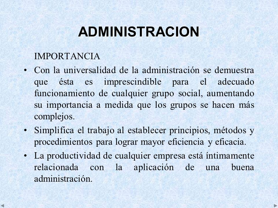ADMINISTRACION IMPORTANCIA