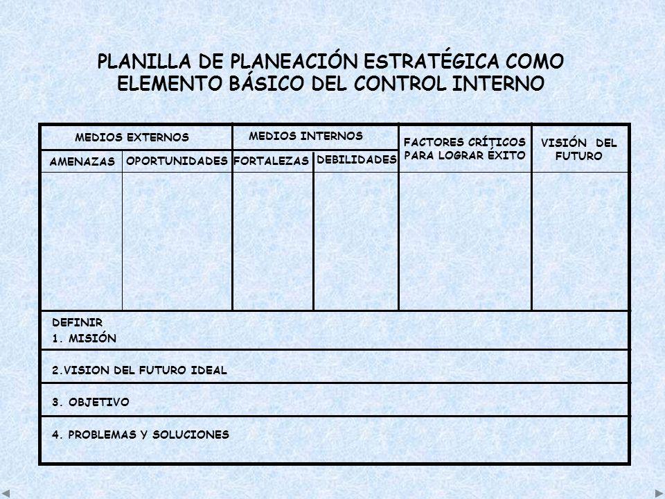 PLANILLA DE PLANEACIÓN ESTRATÉGICA COMO ELEMENTO BÁSICO DEL CONTROL INTERNO