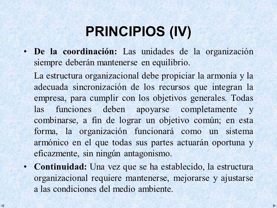 PRINCIPIOS (IV) De la coordinación: Las unidades de la organización siempre deberán mantenerse en equilibrio.